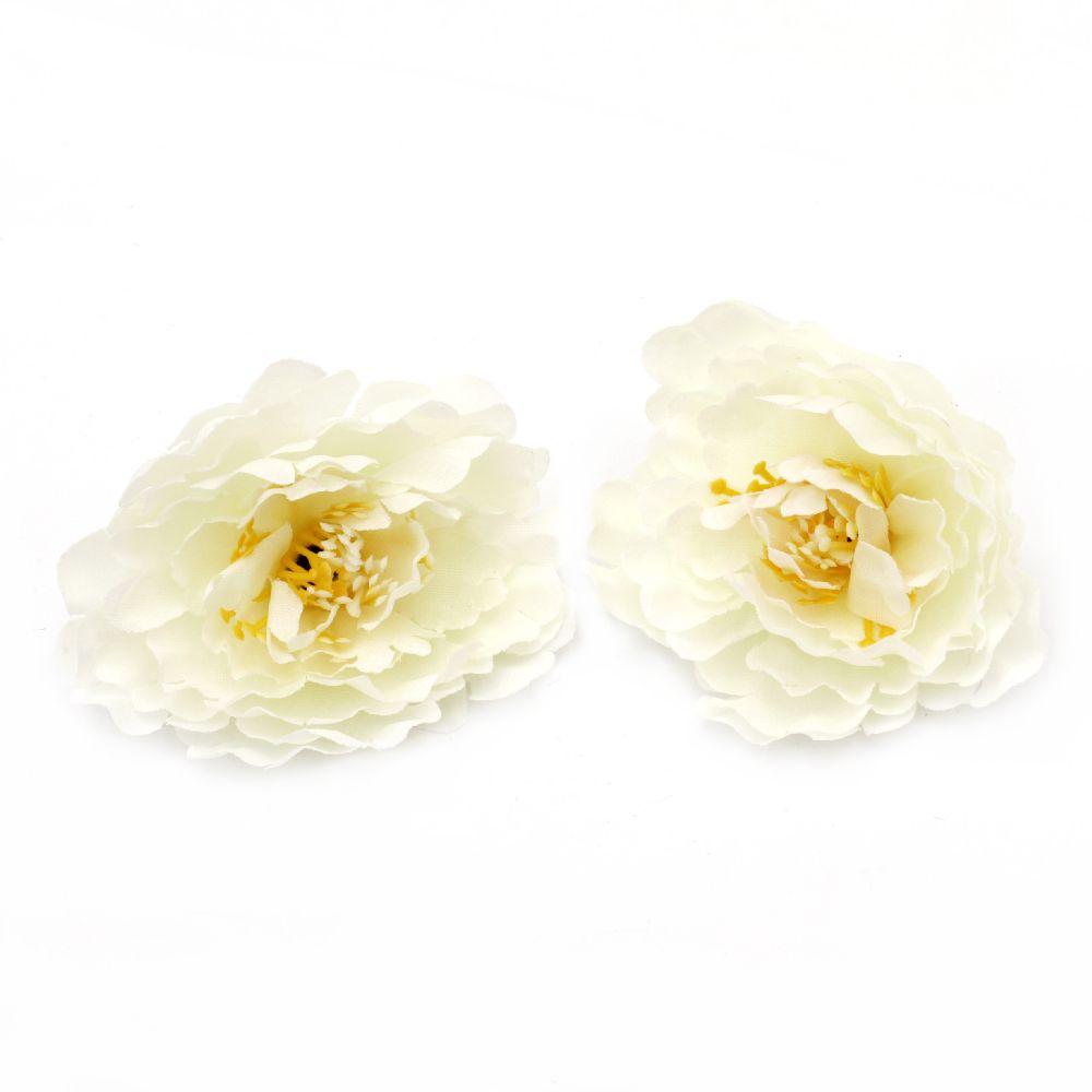 Floare  bujor 75 mm cu boboc pentru montare culoare  albă -5 piese