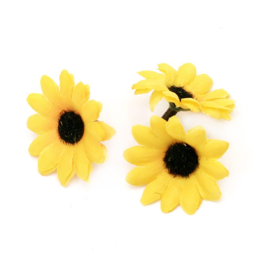 Floare soarelui 40 mm cu un boboc pentru montare - 20 de bucăți