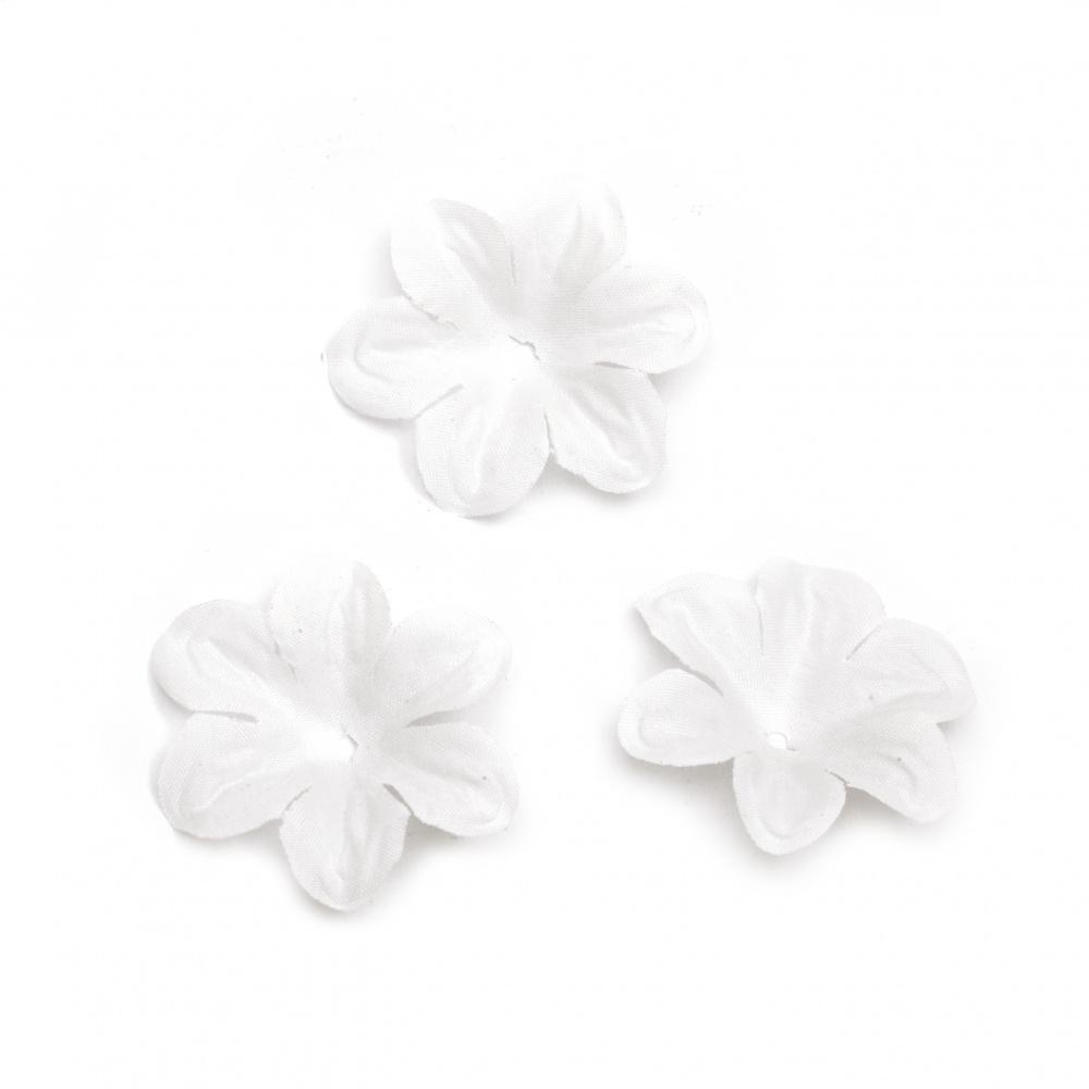 Floare textil 50 mm pentru decor alb -30 bucăți