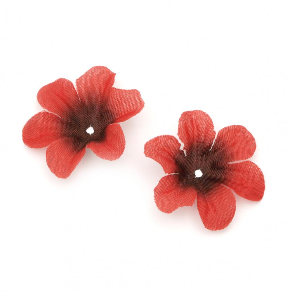 Floare textil  50 mm pentru decorare roșu -30 bucăți