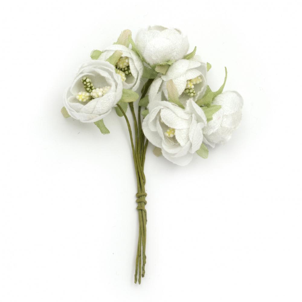 Textile bouquet  Flowers with stamens Styrofoam 20x120 mm white - 6 pieces