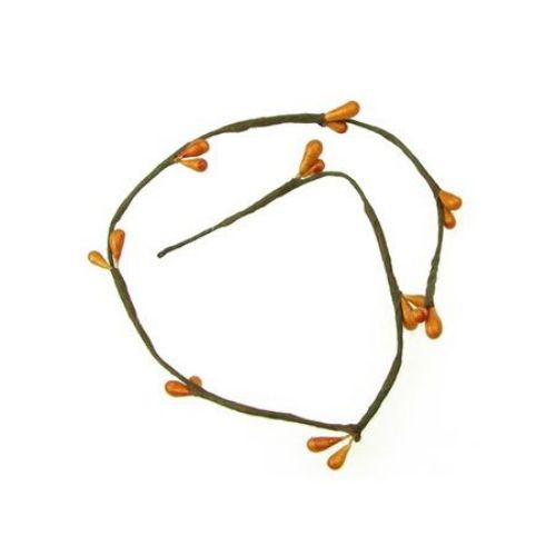 Decorative Fabric Branch 5mm -400mm orange -5 pieces