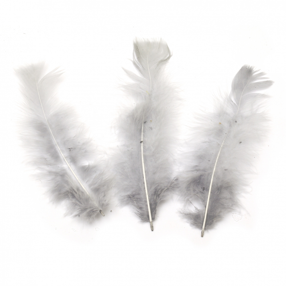 Feather for decoration 120~170x35~40 mm gray - 10 pieces