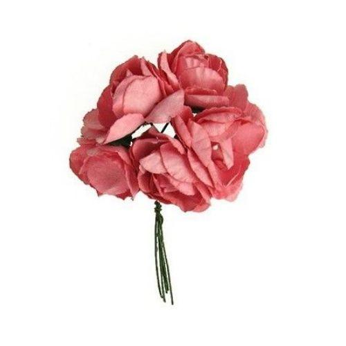 Buchet trandafir de hârtie și sârmă 30x80 mm roz închis -6 bucăți