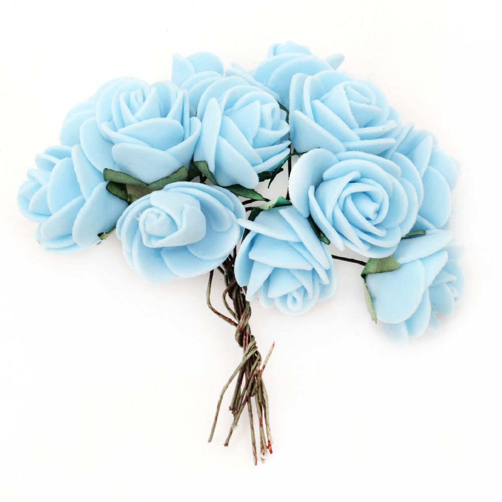 EVA foam Rose bouquet 25x80 mm with wire stems, blue - 12 pieces