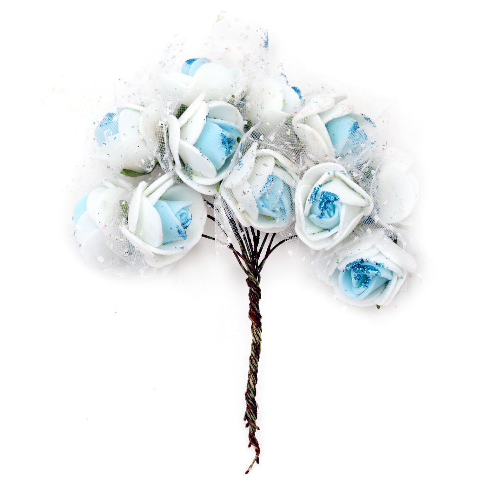 Rose bouquet from EVA foam with organza 25 mm blue and white with glitter - 12 pieces