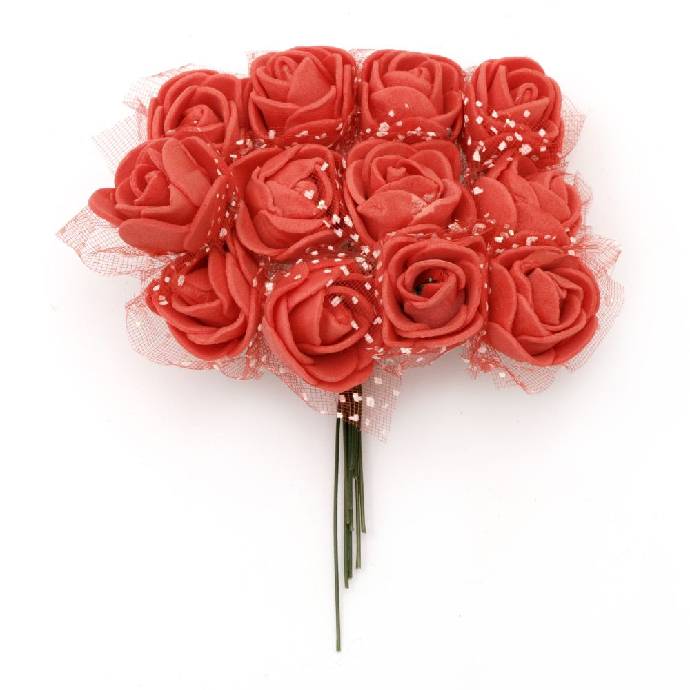 EVA Foam and organza Rose bouquet for embellishment of tiaras, hairpins 25x80 mm with wire stems, red - 12 pieces