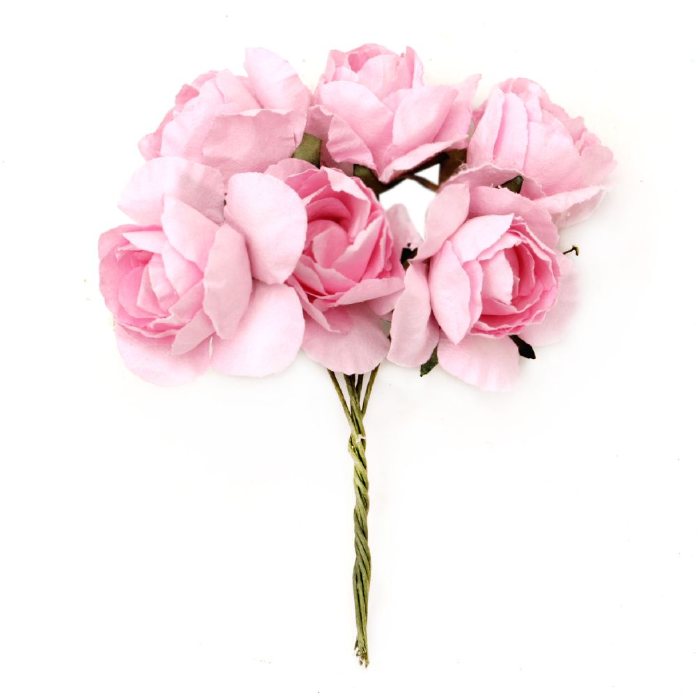 Bouquet of paper Roses with wire stems for decoration 30x80 mm pink - 6 pieces