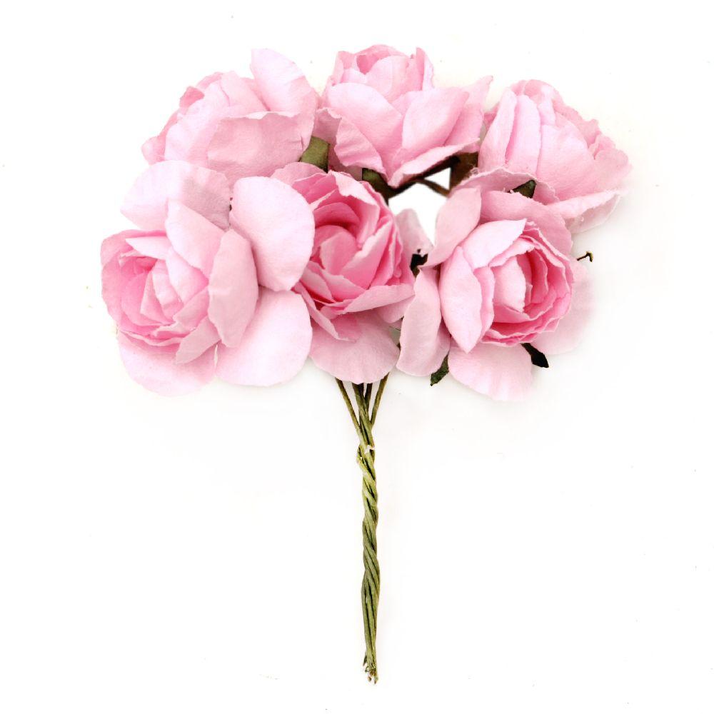 Τριαντάφυλλα 30x80 mm ροζ -6 κομμάτια