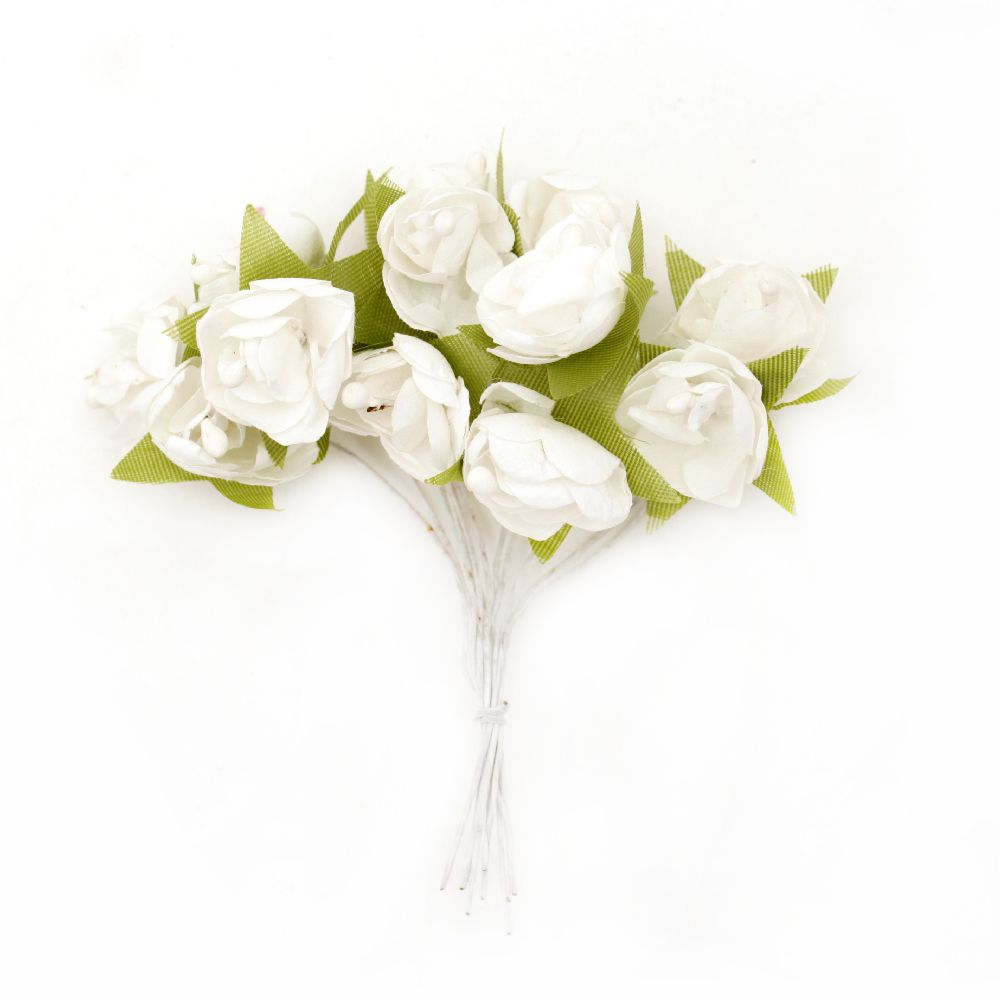 Bouquet of paper Roses with leaves 20 mm white - 12 pieces