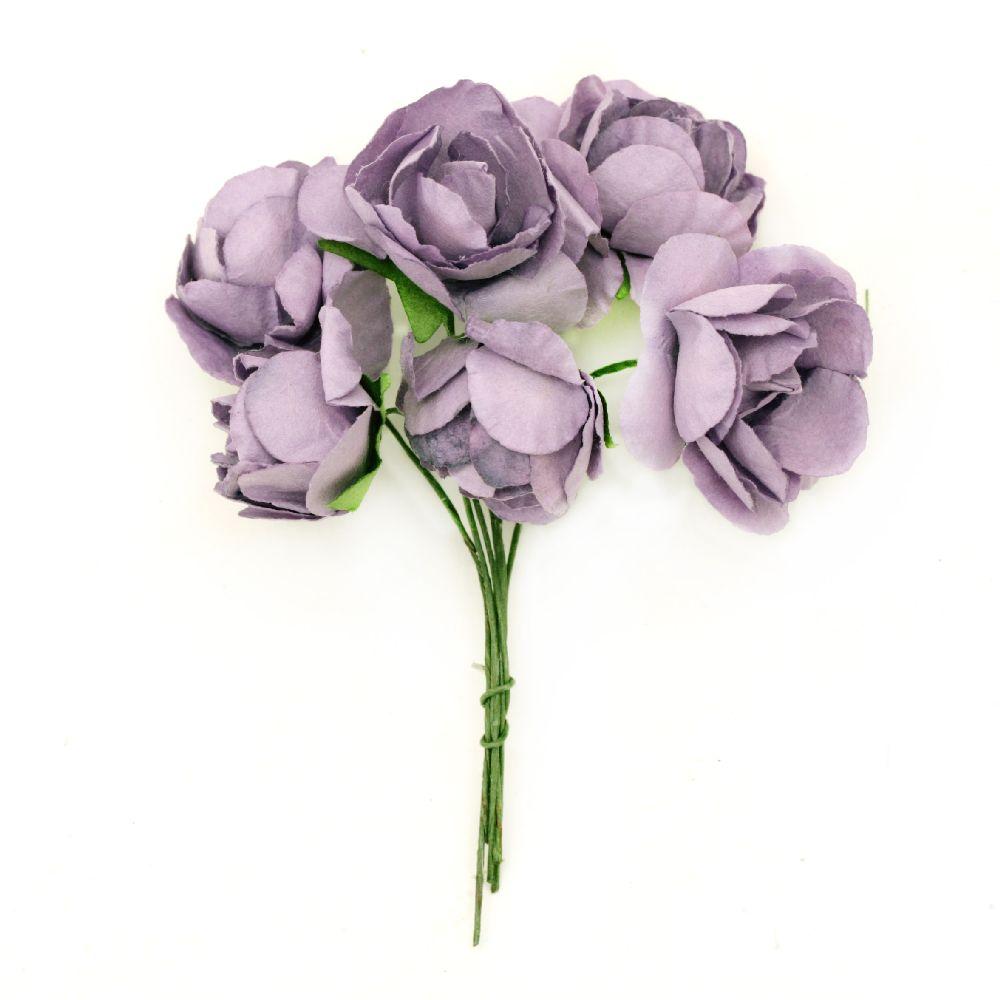 Buchet trandafir de hârtie și sârmă 30x80 mm violet -6 bucăți