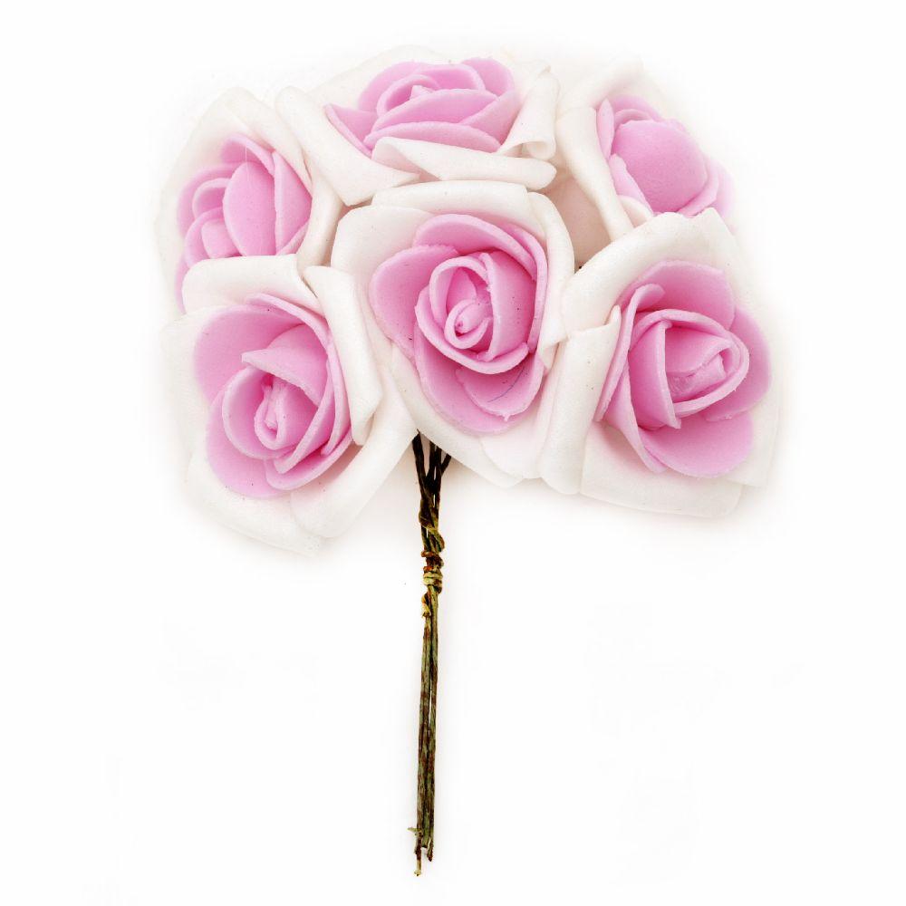 EVA Foam Rose bouque 35x110 mm white pink - 6 pieces