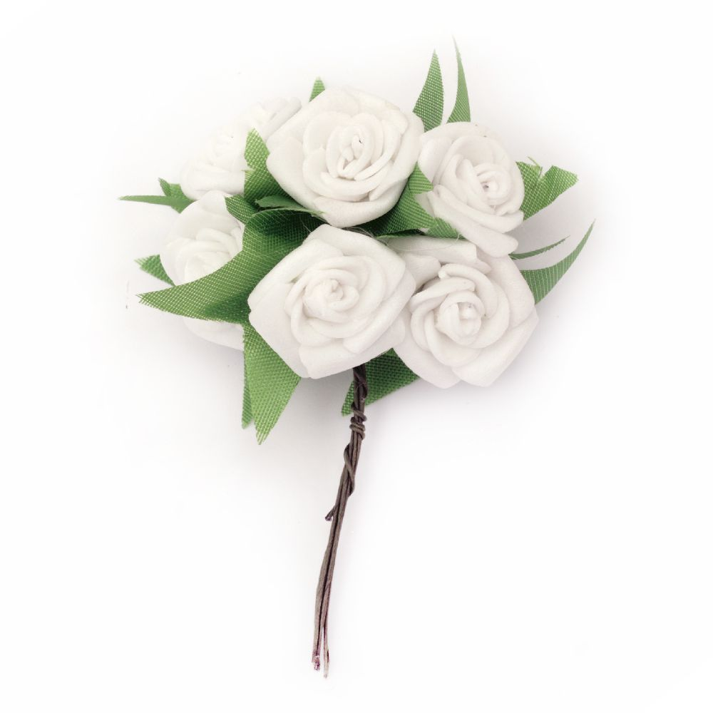Rose rubber bouquet for embellishment of wedding cards, albums 25x90 mm white color - 6 pieces
