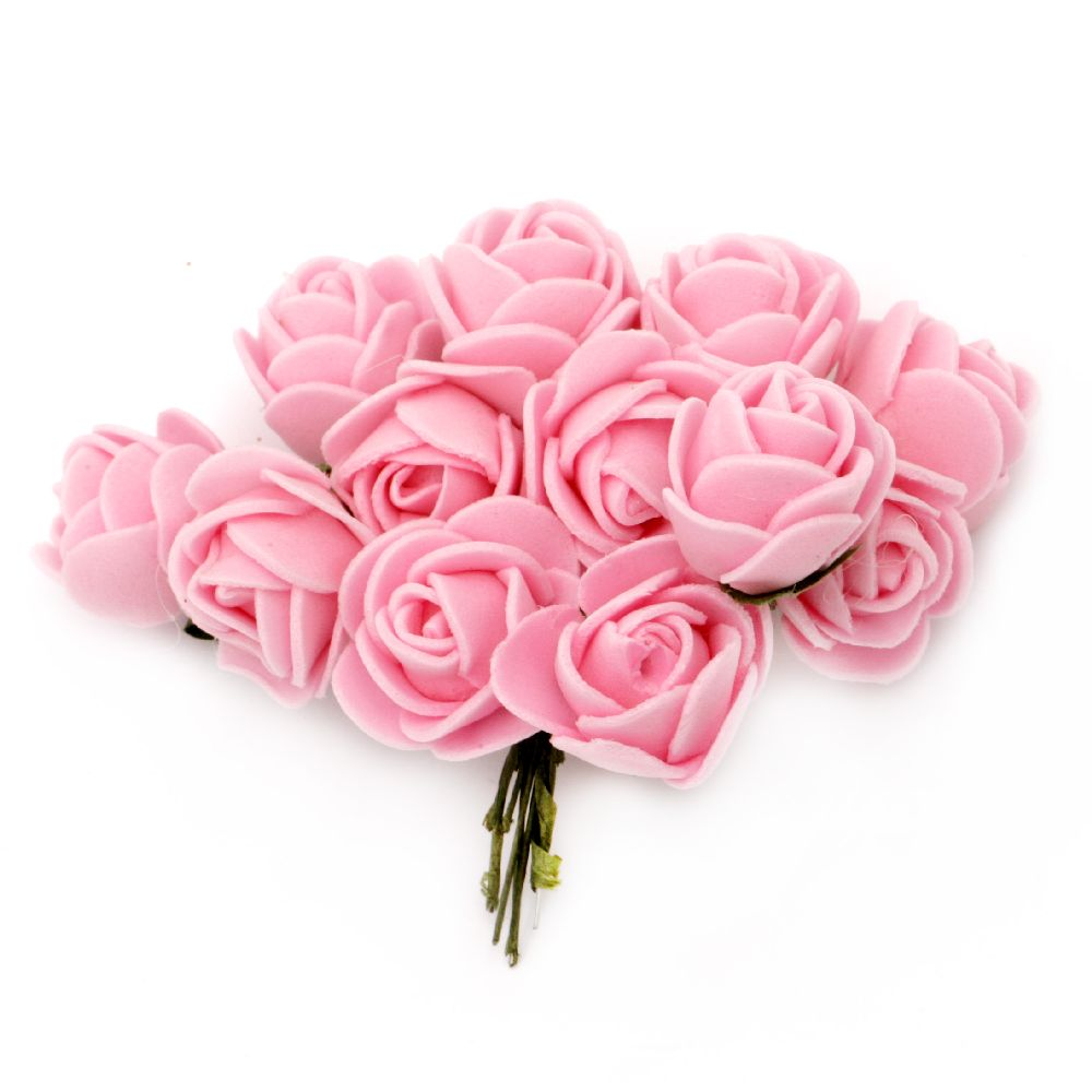 EVA Foam Rose bouquet 20x85 mm with wire stems, pink - 12 pieces