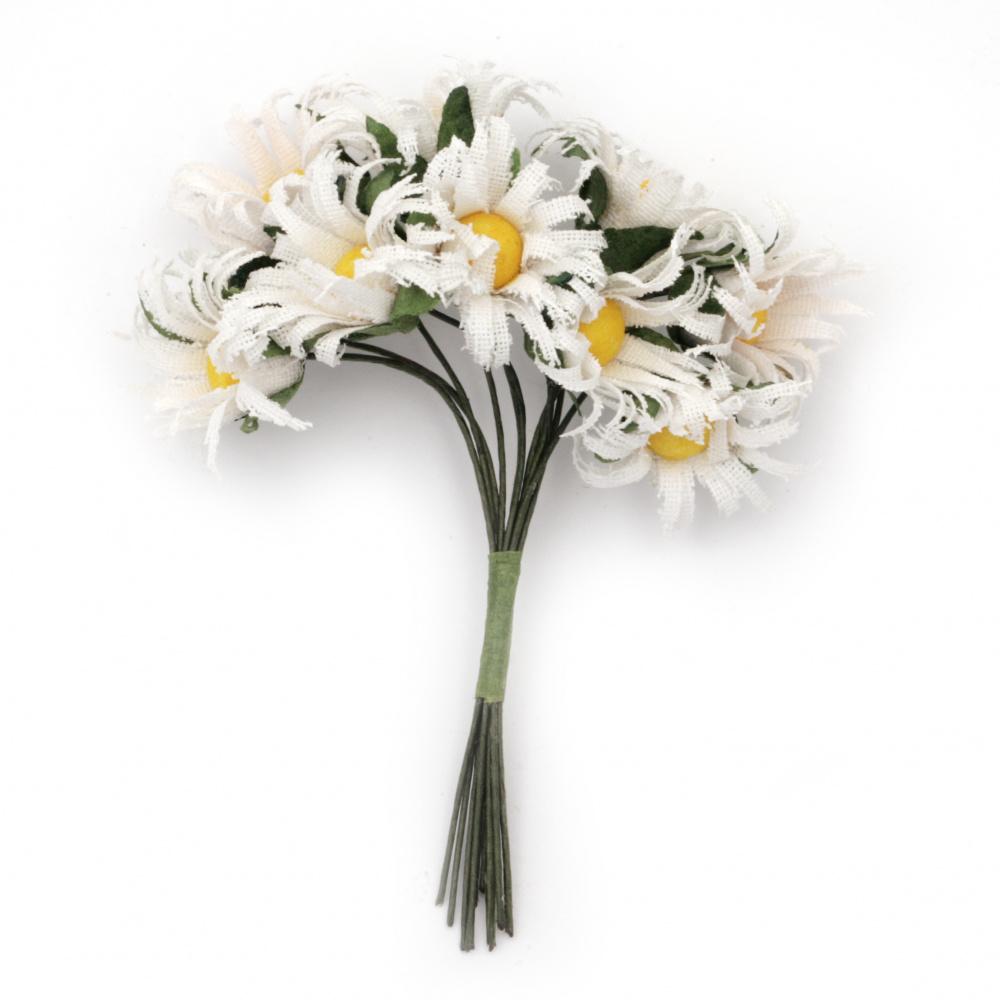 Λουλούδια λευκά με κίτρινο 25x90 mm από ύφασμα -10 τεμάχια ανά ματσάκι