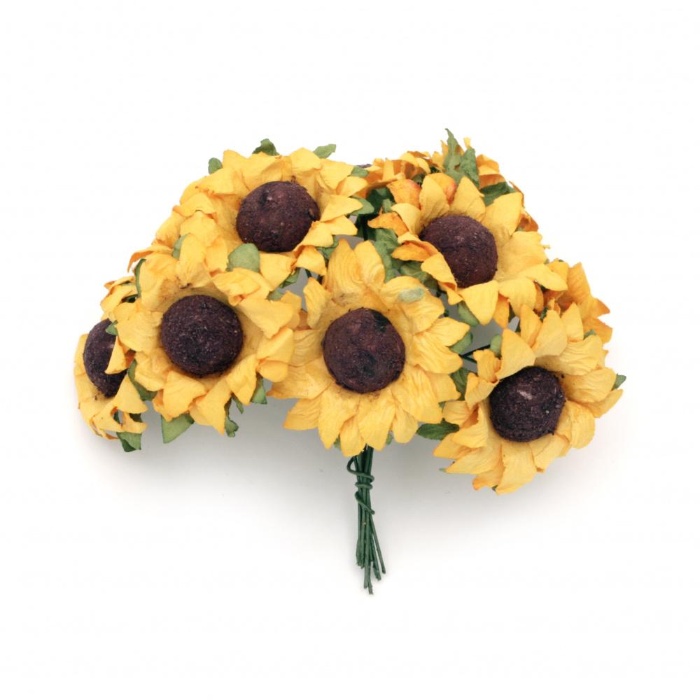 Hârtie buchet floarea soarelui 40x80 mm -10 bucăți
