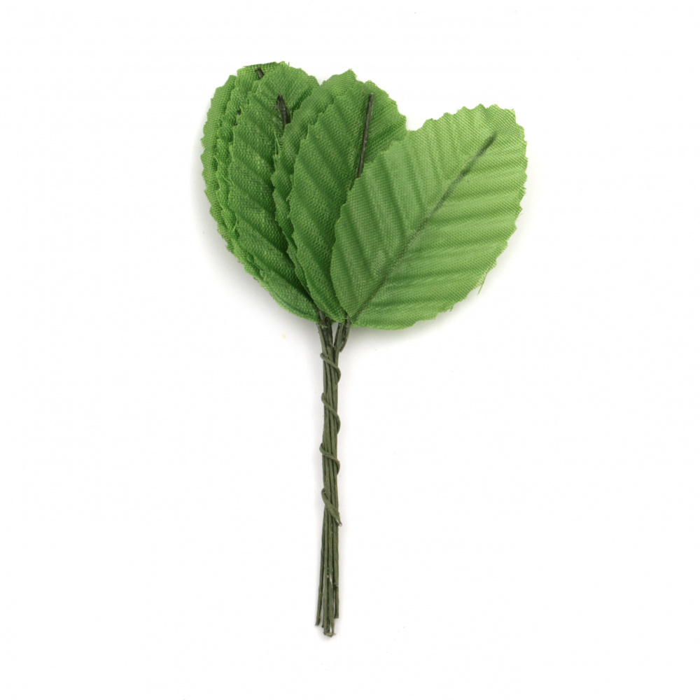 Frunza textilă cu mâner 30x100 mm verde -10 bucăți