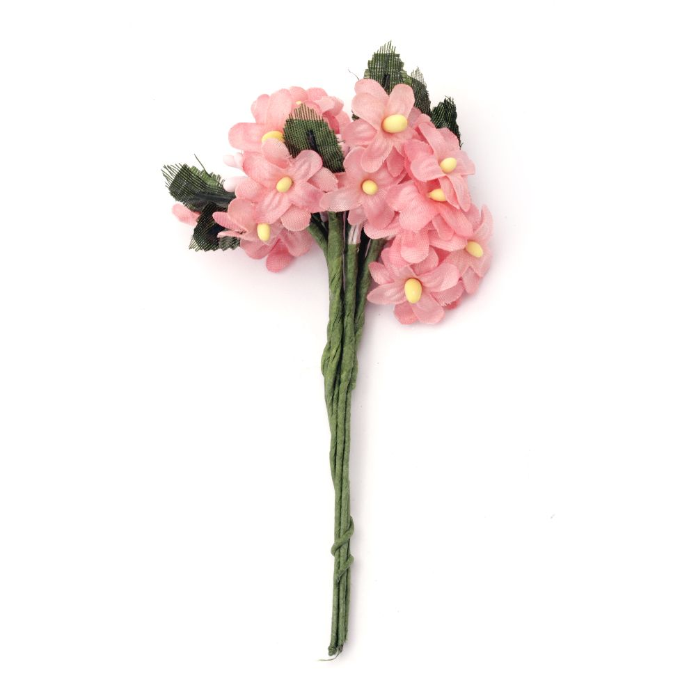 Bouquet of pink  artificial flowers for decoration 20x120 mm - 6 pieces