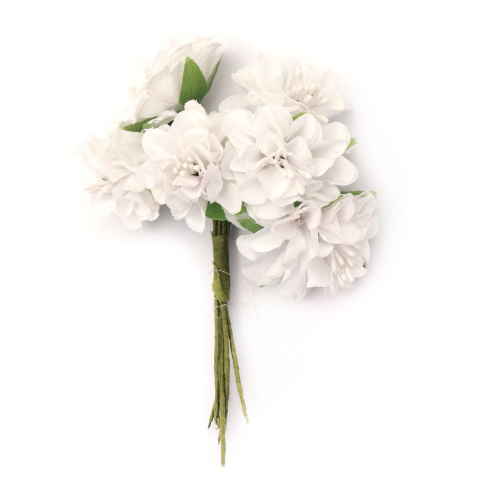 Bouquet Carnation flower with stamens 35x110 mm white - 6 pieces