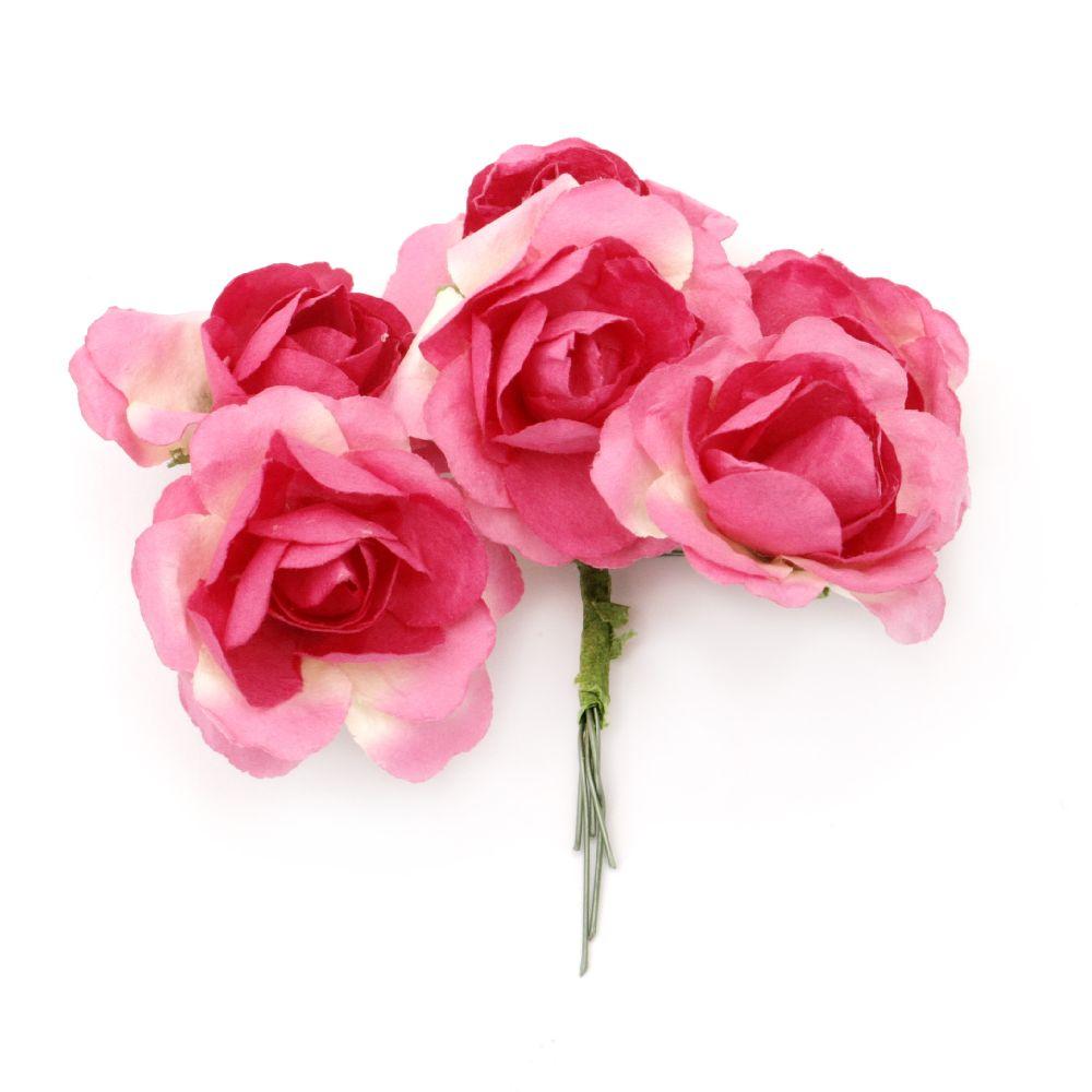 Роза букет хартия и тел 35x80 мм къдрава розова тъмна -6 броя