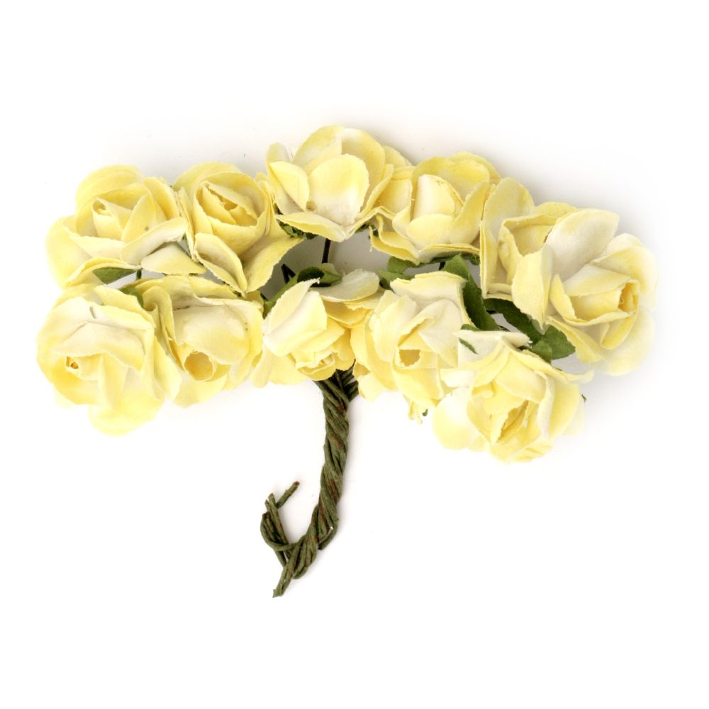 Bouquet of paper Roses with wire stems 18x70 mm color white and yellow - 12 pieces