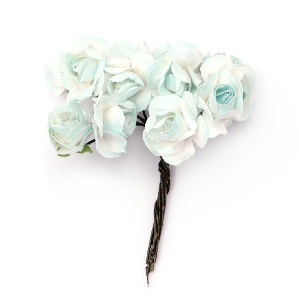 Rose bouquet of paper and wire 18x70 mm white and light blue -12 pieces