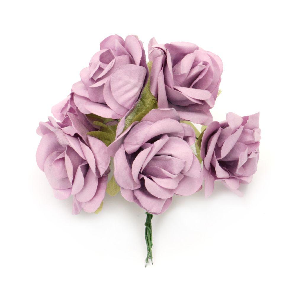 Роза букет хартия и тел 35x80 мм лилава светла -6 броя