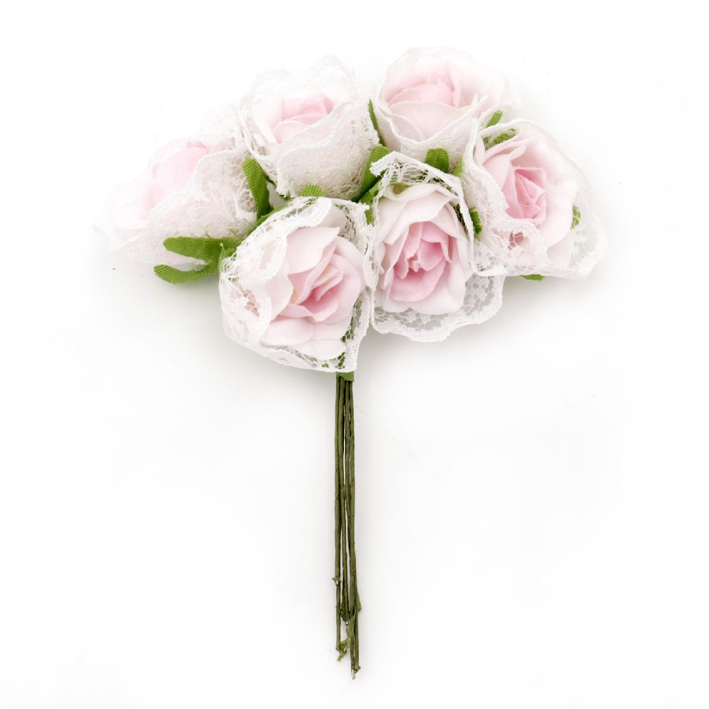 Rose bouquet of textile and lace with stamens for embellishment of tiaras, hairpins 30x115 mm light pink  - 6 pieces