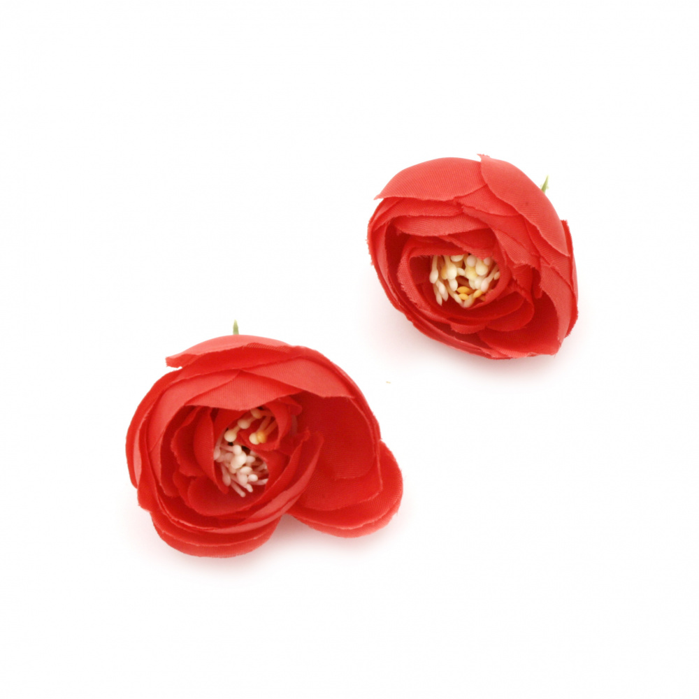 Peony 40 mm with stump for installation red - 5 pieces