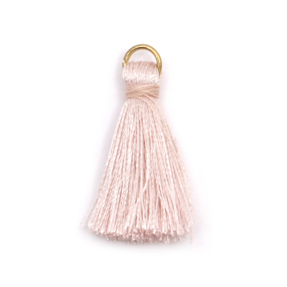 Fabric Tassel 30x6 mm with metal ring color lavender - 10 pieces