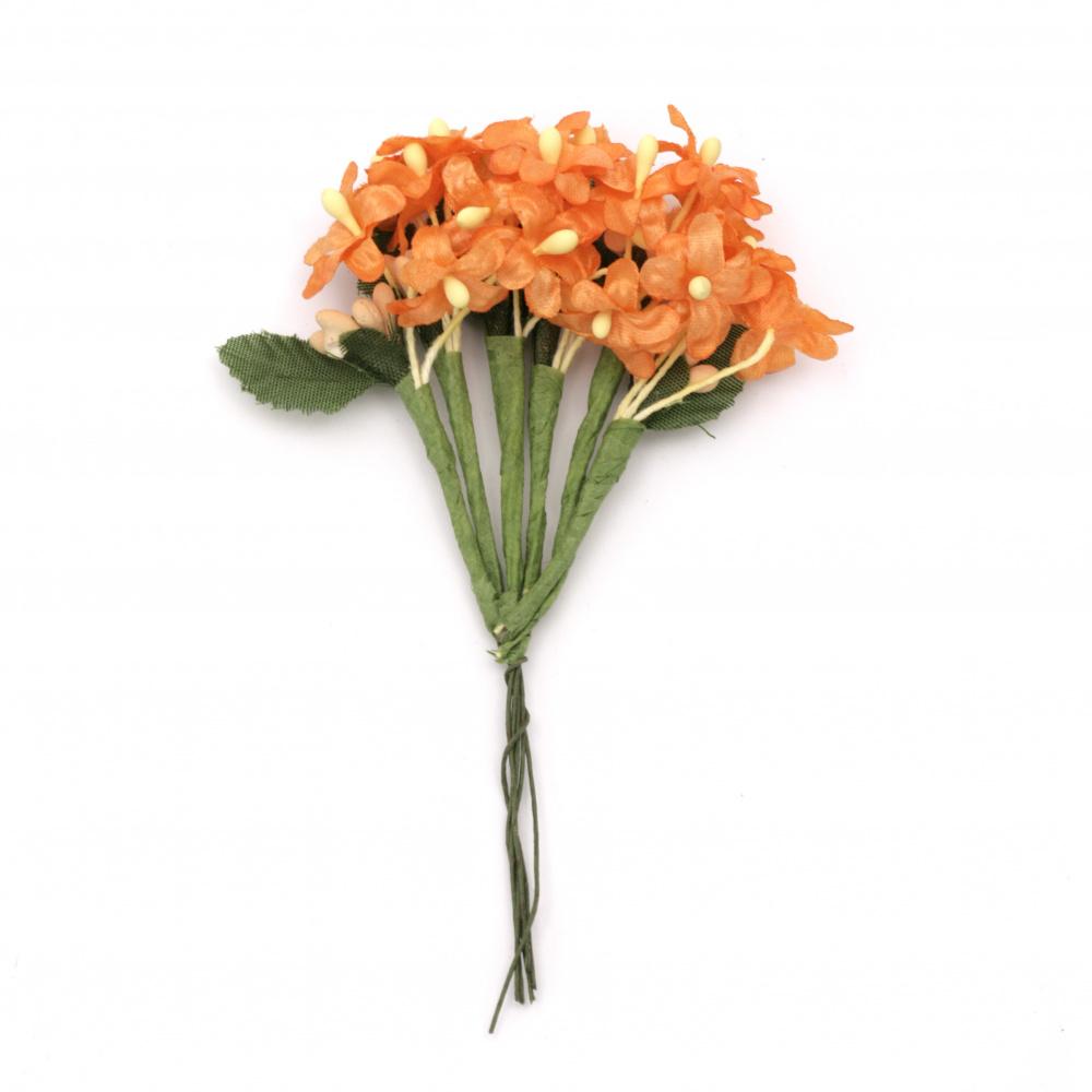 Цвете букет 20x120 мм цвят оранжев -6 броя