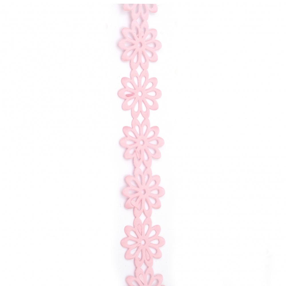 Сатенена лента цвете 40 мм цвят розов -3 метра