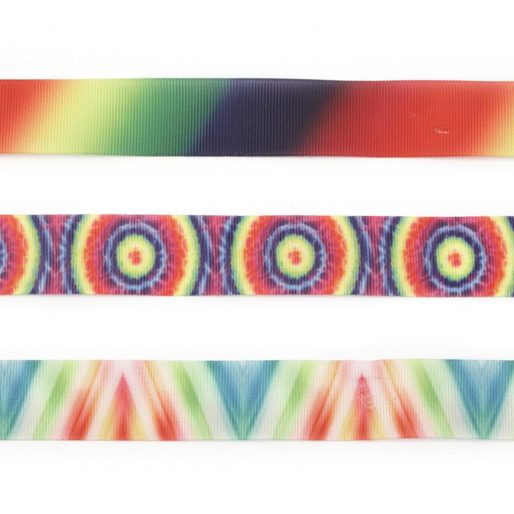 Лента сатен 25 мм рипс цветна АСОРТЕ -1 метър