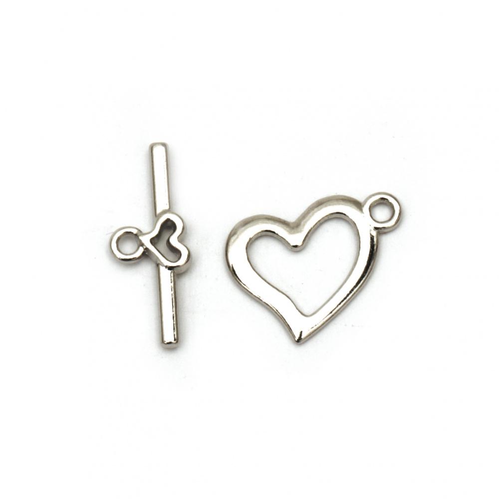 Μεταλλικό κούμπωμα καρδιά δύο μέρη 15x19 mm, 22x9 mm τρύπα 2 mm ασημί -5 σετ