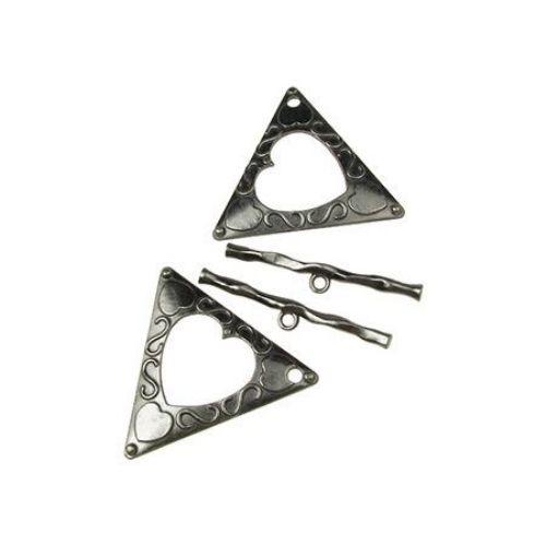 Закопчалка метална две части триъгълник 47x53 мм дупка 3 мм цвят графит -1 комплект
