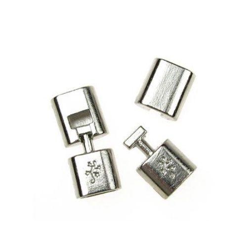 Закопчалка метална две части 32x14x8 мм дупка 6x11 мм цвят сребро-1 комплект