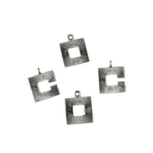 Закопчалка метална две части 19x15x1.5 мм дупка 1 мм цвят старо сребро -2 комплекта