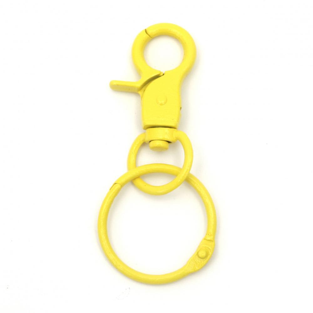 Карабинка и халка за ключодържател 45x30 мм цвят жълт