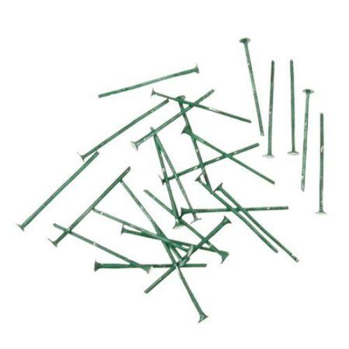 Свързващ елемент метал 20x0.7 мм с главичка цвят зелен -10 грама ~100 броя