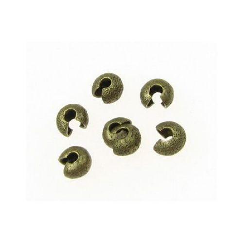 Butuc metalic cu închidere stopare  3,2x2,2 mm gaură 1,2 mm culoare bronz antic - 20 bucăți