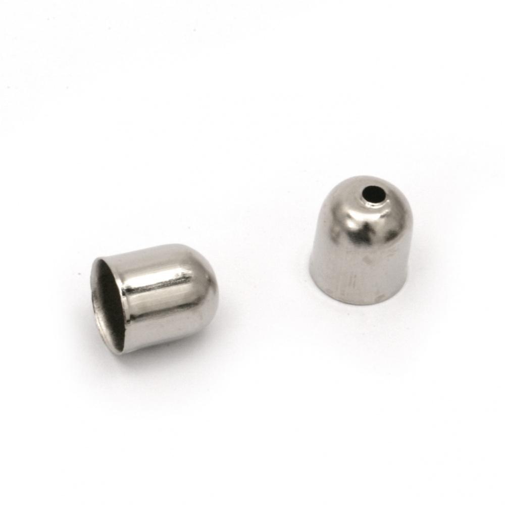 Накрайник метал шапка 10x11 мм цвят сребро -20 броя