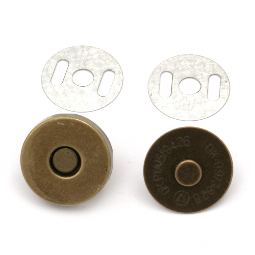 Μαγνητικό κούμπωμα 18 mm αντίκ μπρονζέ -2 τεμάχια