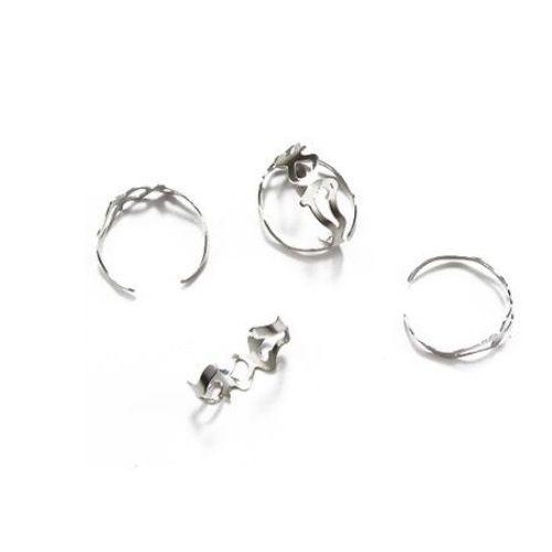 Метална основа за пръстен регулиращ с вълничка18 мм цвят сребро -10 броя