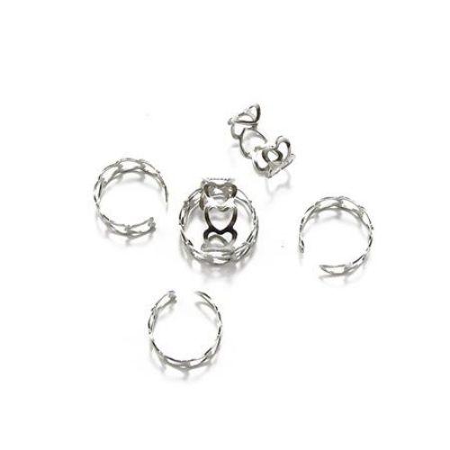 Метална основа за пръстен регулиращ сърца 18 мм цвят сребро -10 броя