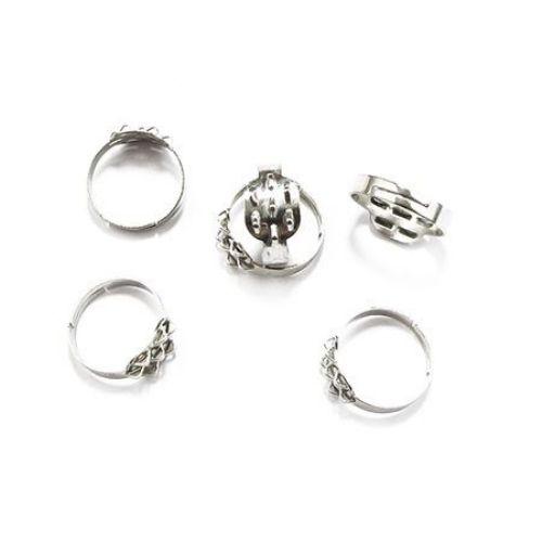 Метална основа за пръстен регулиращ 18 мм 10x12.5 мм Цвят сребро -10 броя
