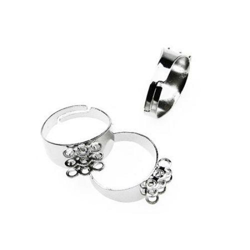 Метална основа за пръстен регулиращ 18 мм сребро 3 реда с троен гребен -10 броя