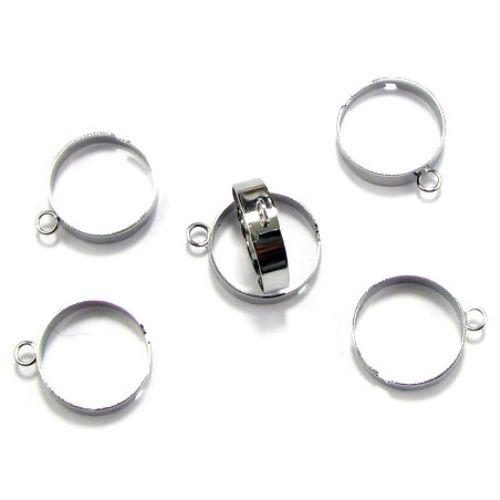 Метална основа за пръстен 18 мм сребро с единична халка -10 броя