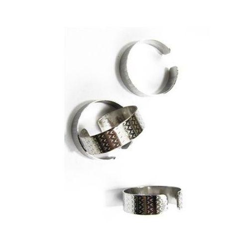Метална основа за пръстен регулиращ 8 мм цвят сребро -10 броя