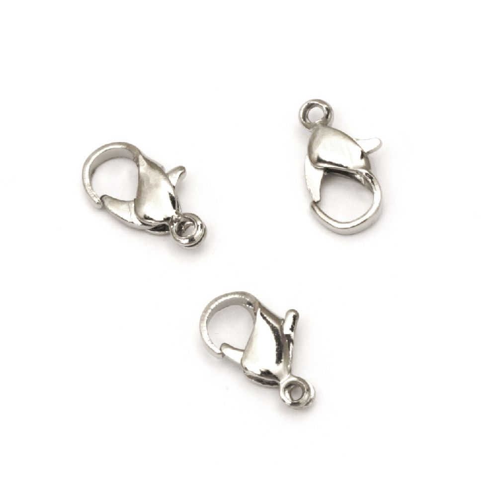 Lobster Claw Clasp Jewellery Making 6x12 mm STEEL color silver -50 pieces