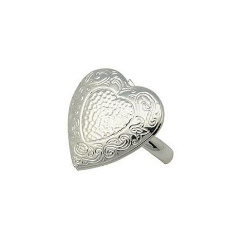 Δαχτυλίδι μεταλλικό 16 mm καρδιά που ανοίγει χρώμα ασημί